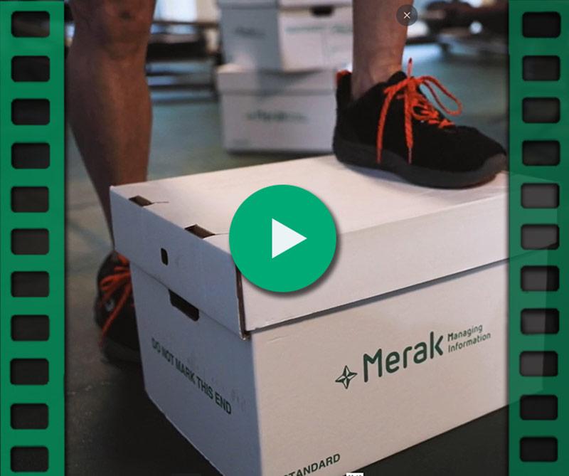 A man steps on Merak's archive box